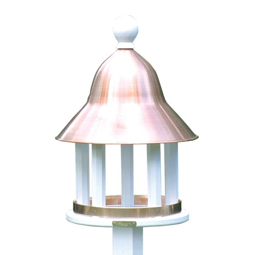 Lazy Hill Farm Designs 42513 Bell Feeder White Solid Cellular Vinyl with Spun Polished Copper Roof, 17-Inch by 23 7/2-Inch (Bell Hill Lazy)