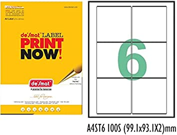 Desmat A4 Size Paper Labels Sticker for Laser, Inkjet and Copiers  White   6 Label Sheet , 100 Sheets Stickers