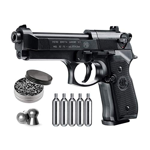 Beretta M92FS Blowback Air Gun with 5x12 CO2 Tanks and Pack of 500ct Lead Pellets Bundle (Black+Accessories)