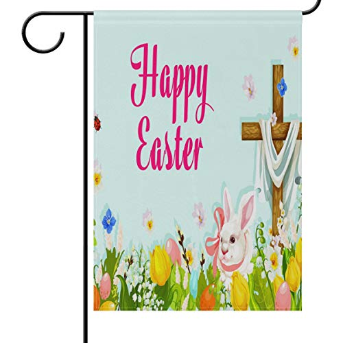 - Easter Egg Hunt Rabbit with Cross Garden Yard Flag Banner House Home Decor 28 x 40 inch, Spring Tulip Large Decorative Double Sided Welcome Flags for Holiday Wedding Party Outdoor Outside