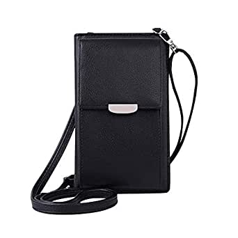 Wiwsi Fashion Design Women Wallet Purse Clutch Cross-body Cellphone Holder Bags(Black)