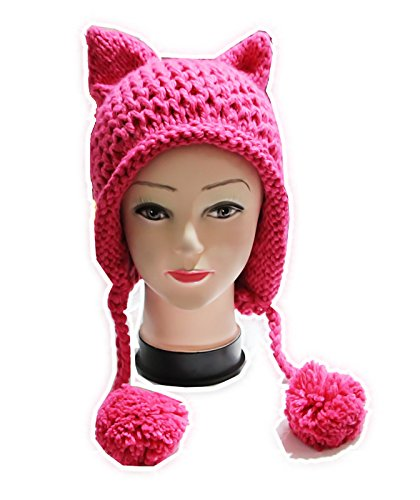 Price comparison product image ALLDECOR Hot Pink Pussy Cat Beanie For Women's March Knitted Hat With Pom Pom Ear Cap