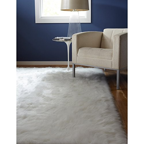 C&U 3' x 5' Handmade Neutral White Color Sheep Skin Soft Glam Shag Indoor Area Rug, Faux Fur Artistic Shaggy Elegant Cloud Silky Soft Fuzzy Rectangle Rectangular Solid Pattern Luxurious Accent Carpet Cloud White Area Rug
