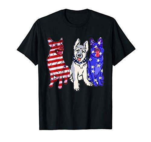 German Shepherd USA American Flag T-Shirt 4th Of July Gift -