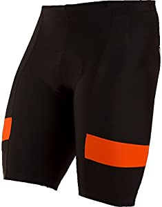 Pearl iZUMi Men's Escape Quest Splice Shorts, Black/Orange Comb, X-Large