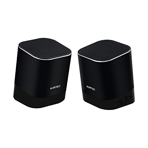 Portable Bluetooth Speakers, Aurtec True Wireless Stereo Outdoor Dual TWS Audio with Strong Bass and Powerful Volume, Bluetooth 4.2, Handsfree Calling for iPhone, Echo, Android and More-Black