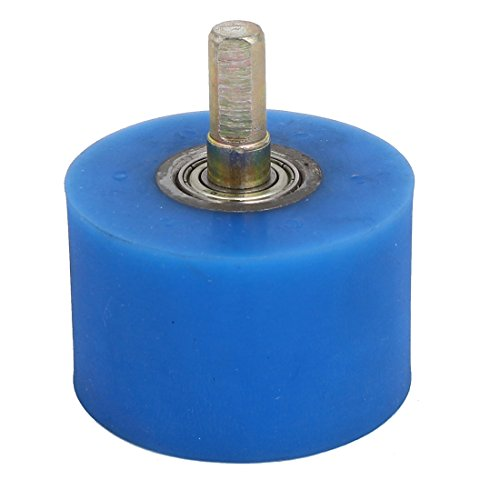 Aexit 10mm Dia Material handling Shaft 60mmx40mm Coating Machine Silicon Rubber Wheel Roller Blue Model:93as143qo196