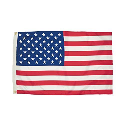 FlagZone FZ-1002051 Durawavez Nylon Outdoor U.S. Flag with Heading & Grommets, 3' x 5' (Brass Lock Classroom)
