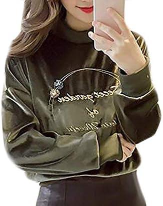 レディーススウェットシャツ 秋ベルベット ラウンドネック ロングスリーブ プルオーバー スウェットシャツ 1 US Small