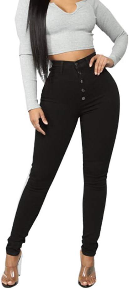 Women High Waist Button Skinny Jeans Ladies Casual Slim Fit Denim Pants Trousers