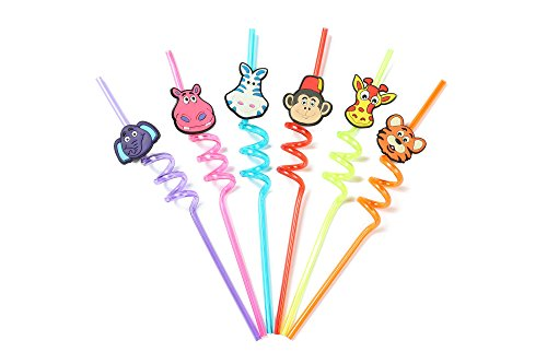 Topic Animal Drinking Straw For kids,Funny Crazy Spiral Straws with Cute Charms,Zoo animal Reusable straws for kids,Assorted Colors, Pack of 6 ... -