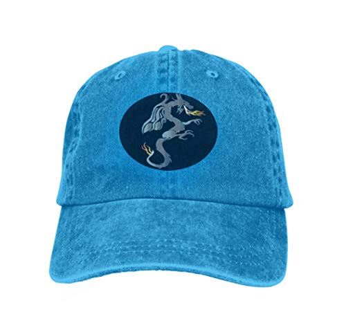Men's Baseball Caps Fashion Adjustable Sandwich Cap Winged Dragon Drawing Blue