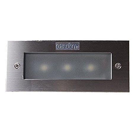 LineteckLED® - E02.002.03F - Faro segnapasso LED 3W rettangolare da incasso per esterno IP65 colore argento spazzolato impermeabile e calpestabile luce fredda 6500K 220V angolo luce 45° Wisdom