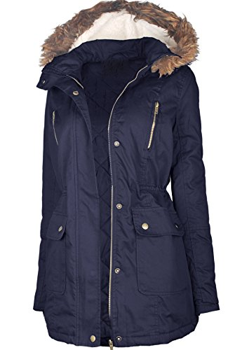 OLLIE ARNES Women's Quilted or Inner Fur Lined Sherpa Anorak Down Parka Jacket CP013 Navy S Ladies Quilted Parka Jacket