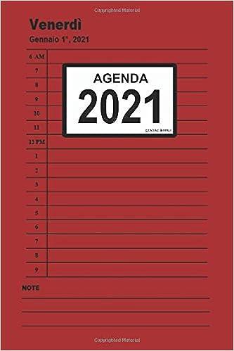 Agenda 2021: (Rosso) Giornaliera, da gennaio a dicembre 2021