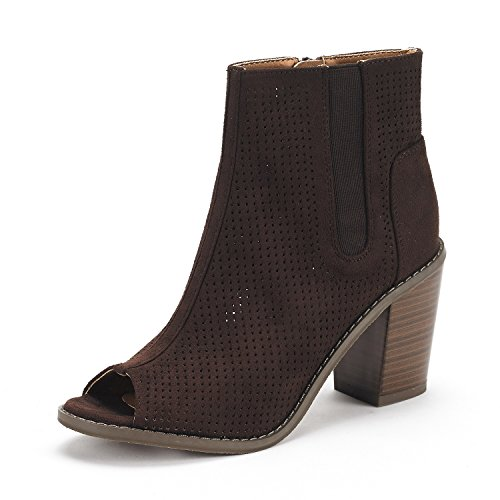 DREAM PAIRS Women's Reuters Brown Peep Toe Ankle Booties Shoes - 7 M US ()
