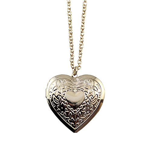 Linana Vintage Heart Shape Charm Long Necklace Gold Plated Locket Pendant