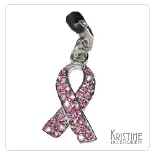 Pink Ribbon Cell Phone Charm - Kristine Accessories Crystal Pink Ribbon Cell Phone Charm