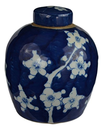 White And Porcelain Antique Blue - Festcool Antique Style Blue and White Porcelain Blue Cherry Blossom Plum Flower Ceramic Covered Jar Vase, China Ming Style, Jingdezhen (LJ4)