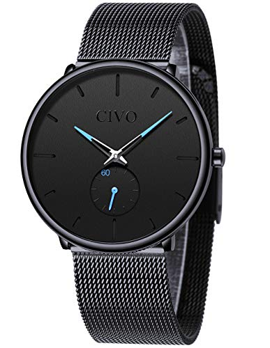 CIVO Mens Watch Stainless Steel Ultra Thin Minimalist Watches Fashion Luxury Wrist Watches for Men Business Dress Casual Waterproof Quartz Watch for Man with Sub Dial (1 Black) Dress Black Dial Mesh Band