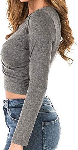 Uniquestyle damska bluzka z długim rękawem na imprezę, głęboki dekolt w serek, krÓj slim fit, bluzka z falbankami: Odzież