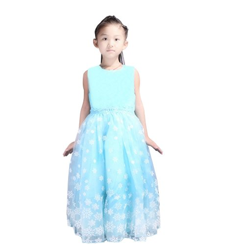 Elsa Blue Dress (URAQT Snow Queen Girls' Party Tutu Dress Sleeveless Snow Princess Dress Blue (110(For 2-3 Years)))