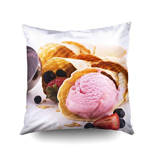 18x18 Inch Pillow Case,Homemade ice Cream Waffle Cones and Fresh Berries Over White Background Copy spaceCapsceoll Pillow Covers,Decoration Pillow Cases Zippered Covers Cushion for Sofa Couch