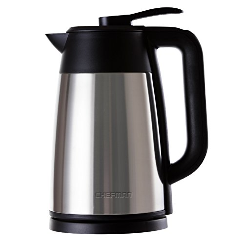 Chefman Cordless Electric Kettle, Stainless Steel Premium Grade Carafe Style w/ Digital Temp Display, Heat Retaining Vacuum Seal, Auto Shut Off & Boil Dry Protection, 7+ Cup 1.7L/1.8qt. - RJ11-17-DV (Seal Vacuum Electric)