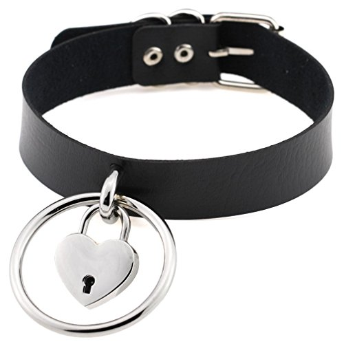 FM FM42 Black Women Big Ring Heart Lock Charm Simulated Leather PU Choker Necklace PN1539