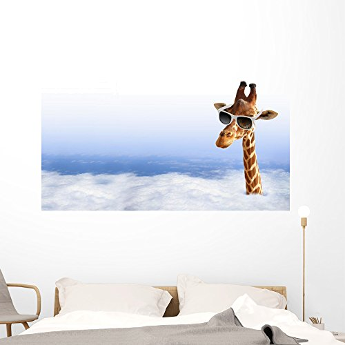 Funny Giraffe with Sunglasses Wall Mural by Wallmonkeys Peel and Stick Graphic (60 in W x 34 in H) - Sunglasses Career