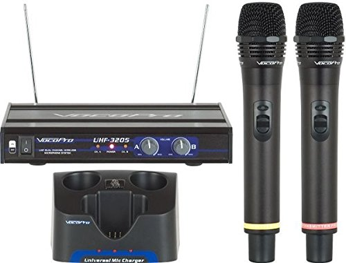 (VocoPro UHF-3205 UHF-Dual Channel Rechargeable Wireless Microphone System )