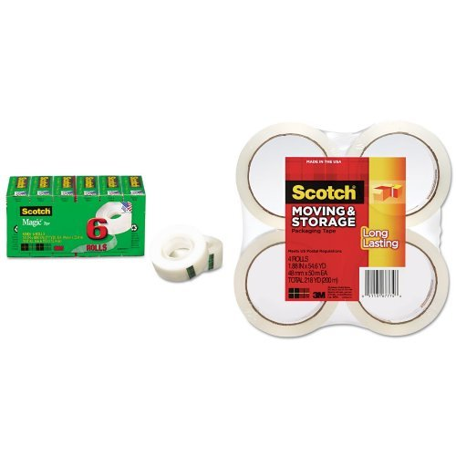 Scotch Magic Tape, 3/4 x 1000 Inches, Boxed, 6 Rolls (810K6) and Scotch Long Lasting Storage Packaging Tape, 1.88 Inches x 54.6 Yards, 4 Rolls (3650-4) (Storage Tape Refill Rolls)