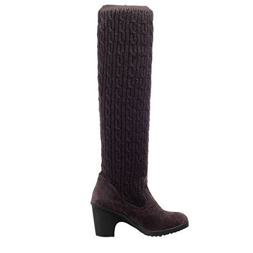 Brown Knit Over Alti On Knee The Coscia Stivali Tight High Heel Aiyoumei Block Slip Womens Ladies Scoks Invernali YAaqYT