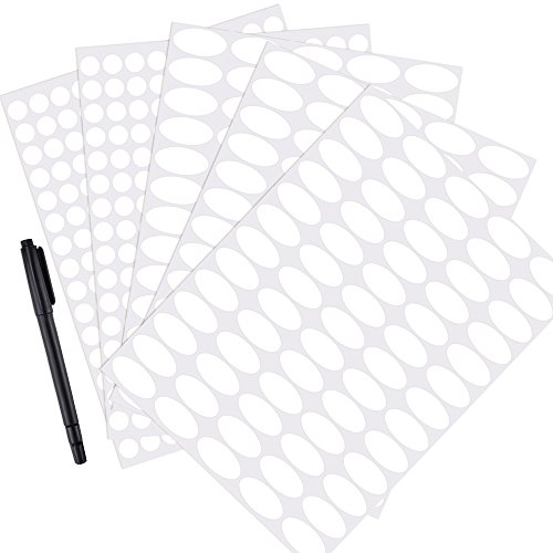 Mudder 5 Sheet White Waterproof Essential Bottle Stickers Labels Oval-shaped and Round Oils Stickers with Marker Pen