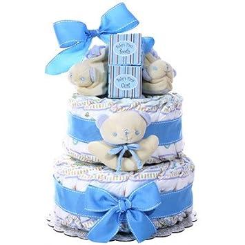 Amazon.com: Baby Boy 2 niveles – tarta de pañales Baby ...