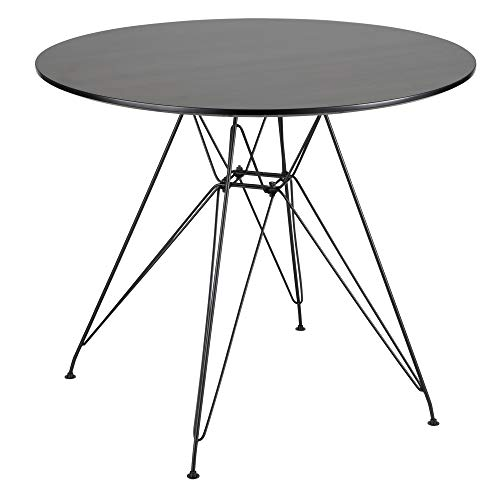 Lumisource Avery Mid-Century Modern Dining Table, Round, Walnut/Black ()