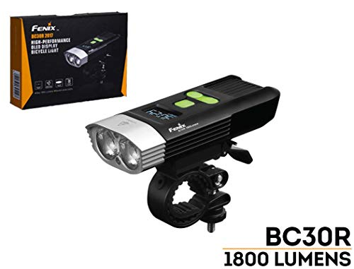 Fenix BC30R 2017 edition 1800 Lumens LED bike light, OLED display screen for the rest runtime and battery percentage, 5200mAh rechargeable battery, USB charging cord and LegionArms sticker ()