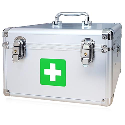 Morning Plus - First aid kit Lockable Medication Box Organizer Emergency Medicine Storage Box Aluminum Medical Box 12 x 7.1 x 7.5 inches (Silver)