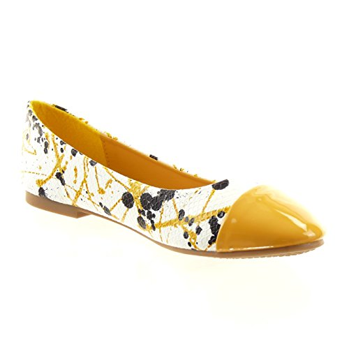 Sopily - Scarpe da Moda ballerina alla caviglia donna pelle di serpente camouflage verniciato Tacco a blocco 1 CM - soletta sintetico - Ingiallimento
