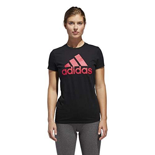 adidas Women's Badge of Sport Logo Tee, Black Energy/Pink, Medium (Spring Adidas Womens)
