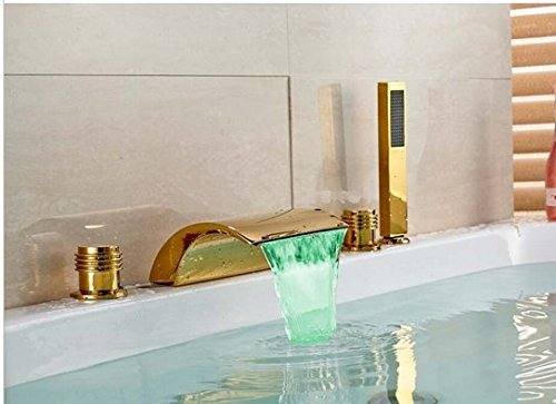 GOWE LED Color Chaning Waterfall Bathroom Tub Faucet 3 Handles Sink Mixer Tap Golden 0