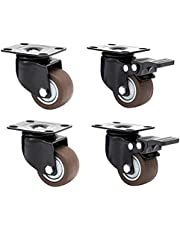 2 Inch TPR Heavy Duty Swivel Industrial Castors, Plate Casters, Brake Casters, Castors for Furniture, Anti-Skid/Mute/Durable, Pack of 4 (Color : 2no Brake+2brake)