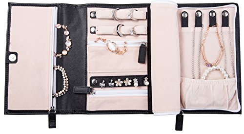 ELOI Travel Jewelry Organizer Black Jewelry Case Vegan Leather Bag Jewelry Storage (Leather Travel Jewelry)