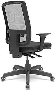 Cadeira de Escritório Presidente Brizza braços 3D - Plaxmetal (Preto Couro Ecológico)