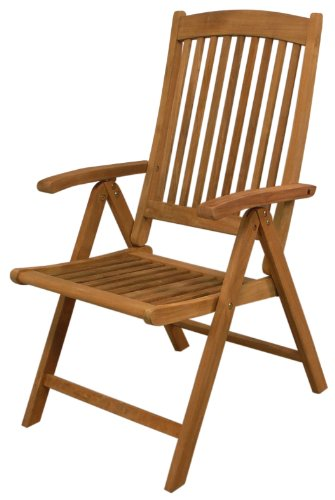 SeaTeak 60062 Avalon Folding Multi-Position Deck Chair with Arms, Oiled Finish