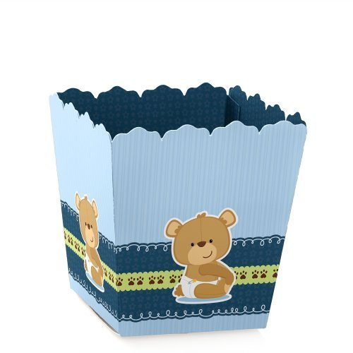 Boy Baby Teddy Bear - Party Mini Favor Boxes - Baby Shower or Birthday Party Treat Candy Boxes - Set of ()