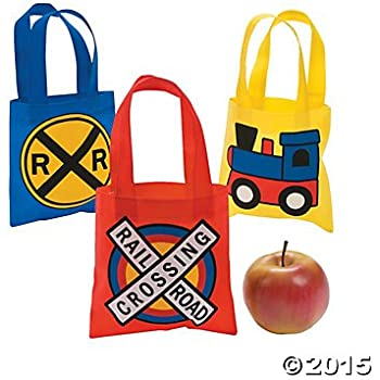 Train Party Mini Tote Bags - 12 ct