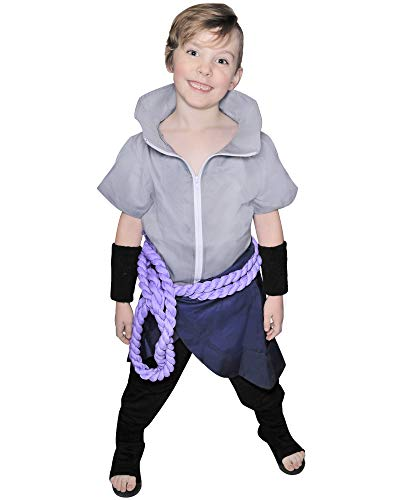 DAZCOS Kids Size Anime Uchiha Sasuke Cosplay Costume with Wristbands Rope (Child Small) Gray -