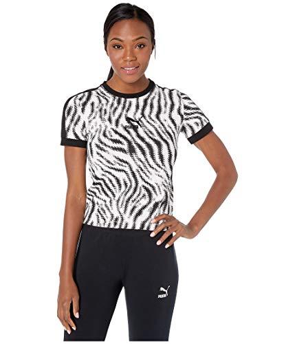 (PUMA Women's Wild Pack All Over Print Tee, White/Zebra AOP, X-Large)