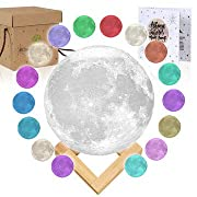 Moon Lamp Moon Light 3D Moon Lamp [Seamless] - [USA Seller] [Upgrade] 16 Color Moon Night Light with Stand - Mood Lamp Book, Globe, Cool Lamp, USB Charging (5.9 inch 16 Color)